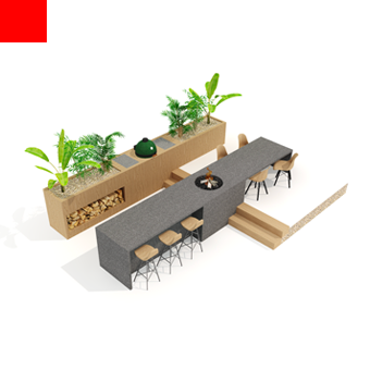 buitenkeuken ontwerp met beton en hout