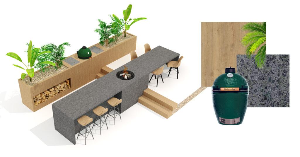 buitenkeuken met een green egg en planten erin verwerkt. Gemaakt van hout en natuursteen.