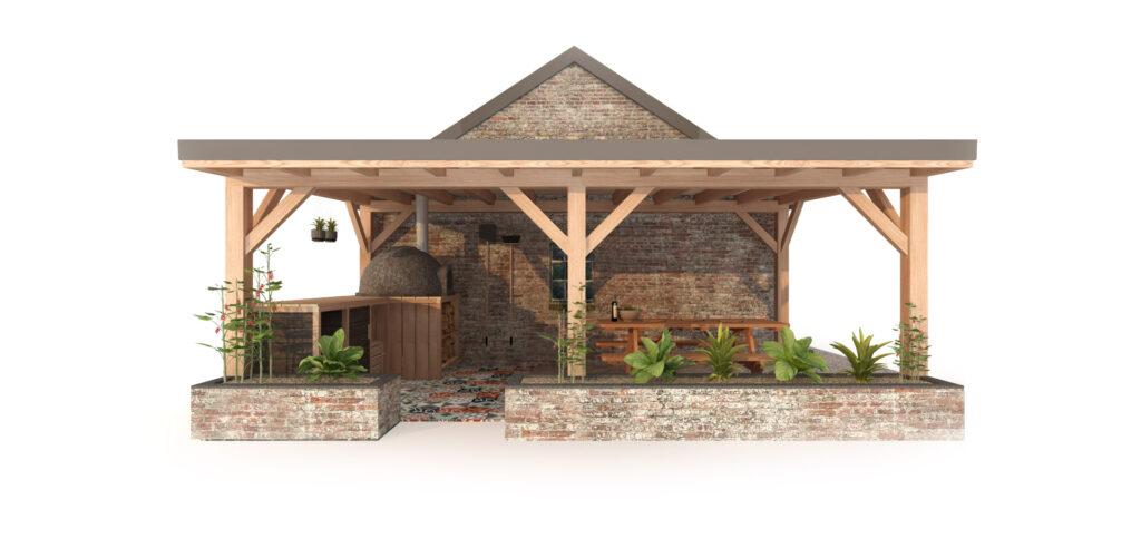Buitenkeuken met pizzaoven. Gemaakt van Douglas hout. Inclusief overkapping en planten.