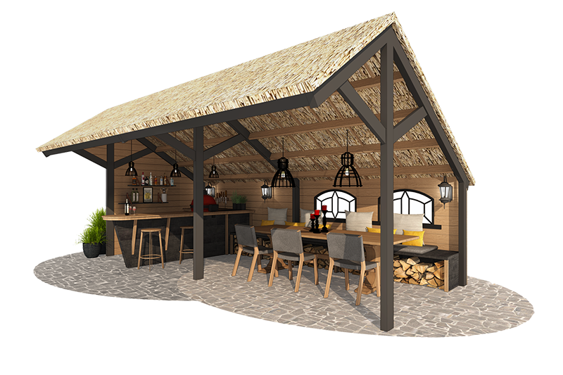 buitenkeuken met asymmetrisch dak. Een bar en een eettafel voor 8 personen.
